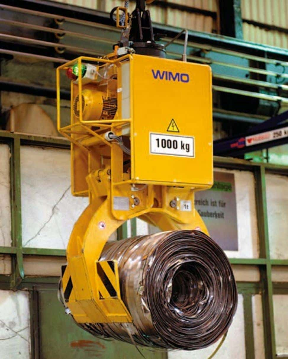 for transporting scrap coils with hydraulic tong arm and rotary drive, designed for easy loading in