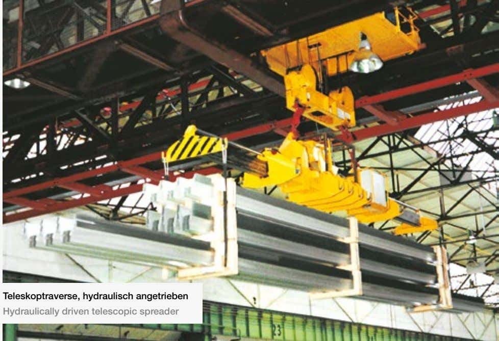 Teleskoptraverse, hydraulisch angetrieben Hydraulically driven telescopic spreader
