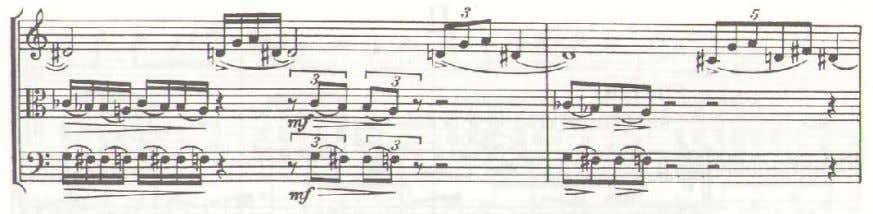 Ex. 2. Concertino, movement I, m. 45-47. Polytonality, the simultaneous use of two or more