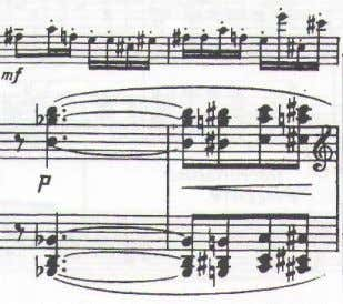 omitted. Ex. 14. Sonata movement II, piano part mm. 11-14. Ex. 15. Sonata movement II, score