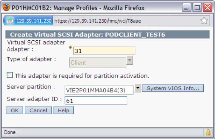 create client partition device for VIO2 and storage G1 5.6.8.1. command line mode client partition device,