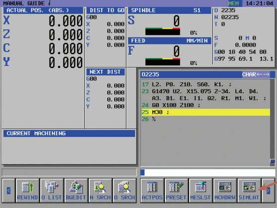 "the soft key ""Insert"" Program end end of the program Simulation Select the operating mode: AUTO"
