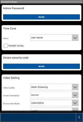 Once you have accessed the settings you will be able to configure the camera.