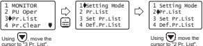 1 MONITOR 1 Setting Mode 2 PU Oper 2 Pr.List 3 Pr.List 3 Set Pr.List