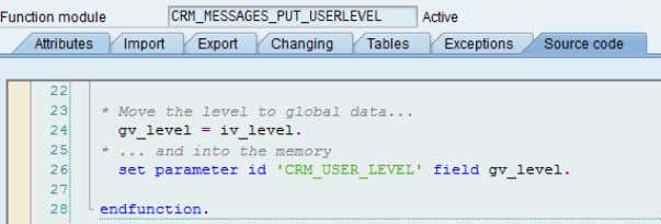 below: Internal it sets a user parameter as shown below: Filter based on message level Interface