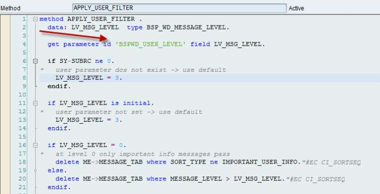 of messages is done at runtime in method APPLY_USER_FILTER Values are validated against domain BSPWD_MSGLEVEL as