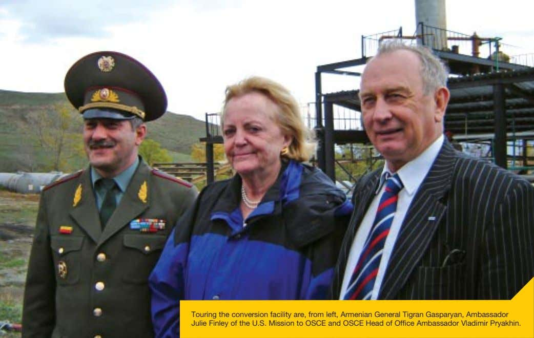 Touring the conversion facility are, from left, Armenian General Tigran Gasparyan, Ambassador Julie Finley of