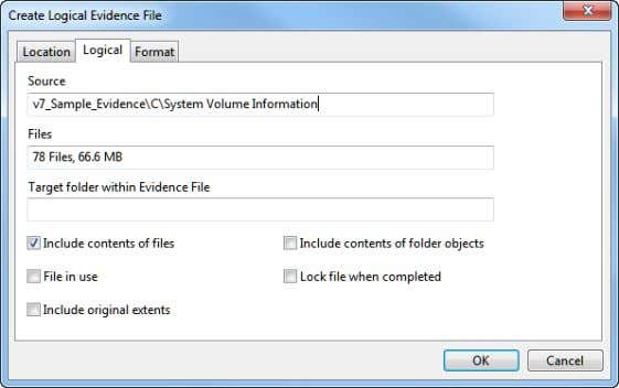 Forensic Imager User's Guide 4. In the Logical tab: Source is the root level folder or