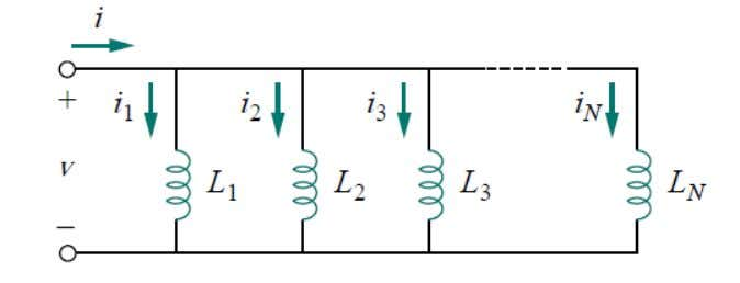 Inductors in Parallel The equivalent capacitance of N-parallel connected inductors is the reciprocal of the sum