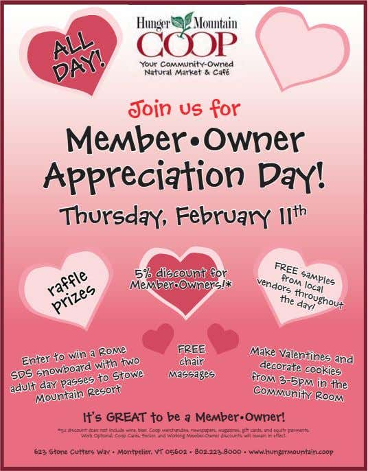 Join us for ALL DAY! Member•Owner Appreciation Day! FREE from local vendors Thursday, February 11