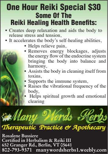 One Hour Reiki Special $30 Some Of The Reiki Healing Health Benefits: • Creates deep