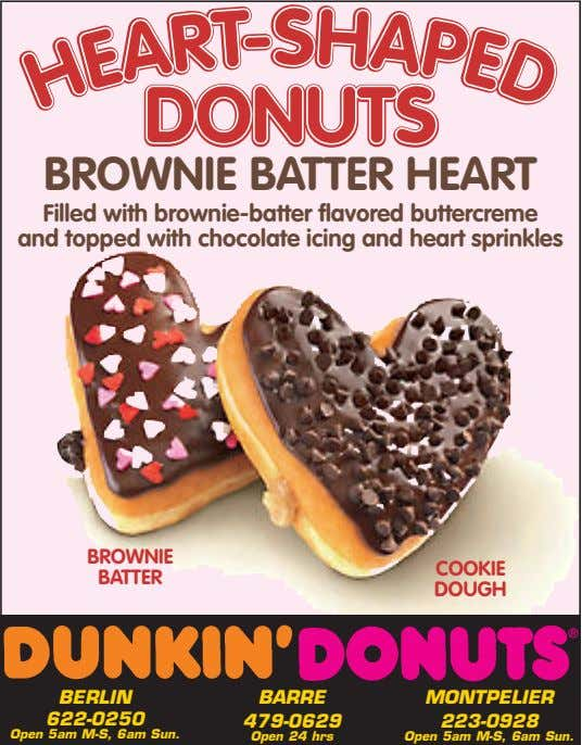 S S DONUTSDONUTS BROWNIE BATTER HEART Filled with brownie-batter flavored buttercreme and topped with chocolate