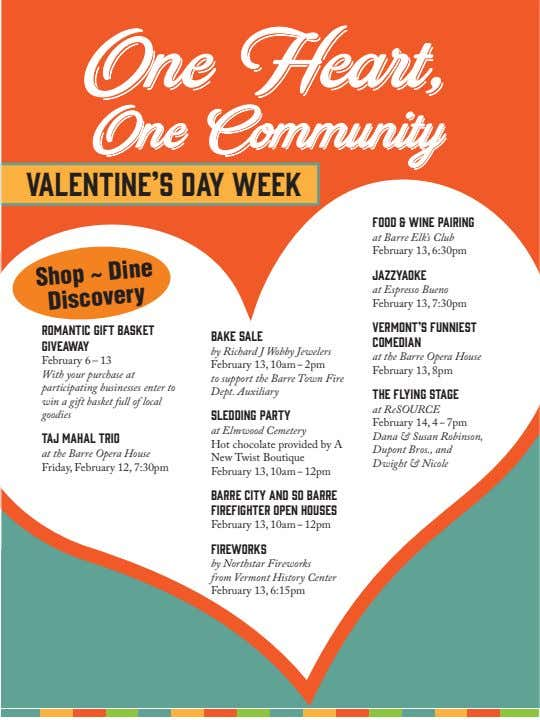 One Heart, One Community Valentine's day Week FOOD & WINE PAIRING at Barre Elk's Club