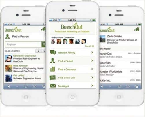 Mobile Apps – Beispiel Branchout (Job Plattform) !   Transfer der Facebook Funktionen in die mobile
