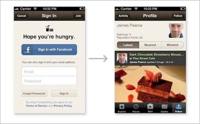 Facebook Mobile Facebook Mobile Apps – Beispiel Foodspotting