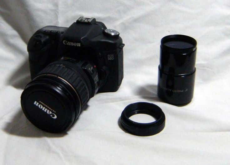 Canon EOS 50D, T-Ring, T-Adapter with filter attached. Canon EOS 50D with T-Ring and T-Adapter attached