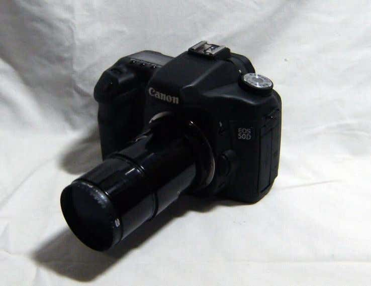 EOS 50D, T-Ring, T-Adapter with filter attached. Canon EOS 50D with T-Ring and T-Adapter attached in