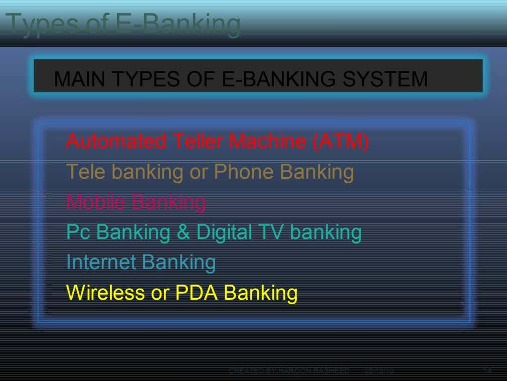 Types of E-Banking MAIN TYPES OF E-BANKING SYSTEM Automated Teller Machine (ATM) Tele banking or
