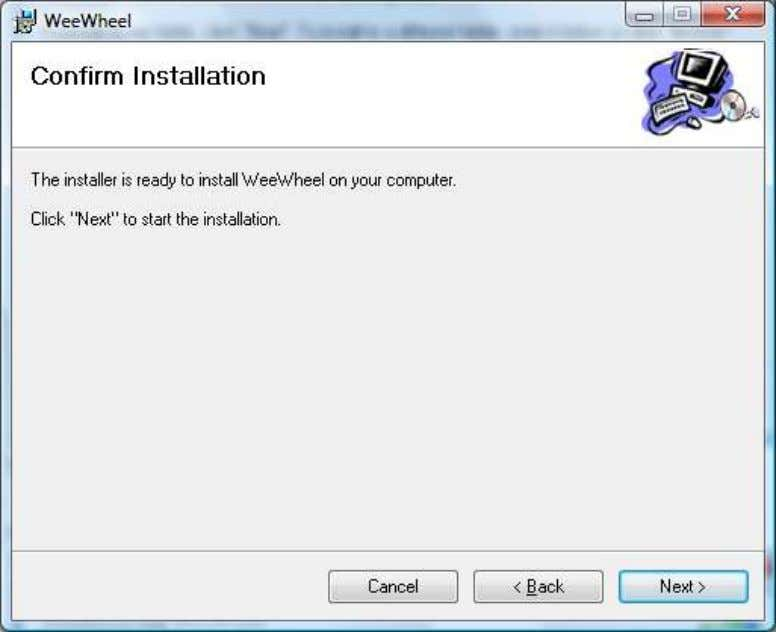 "and click on ""Next >"" 10. Following screen appears: 11. Click on ""Next"" the installation process"