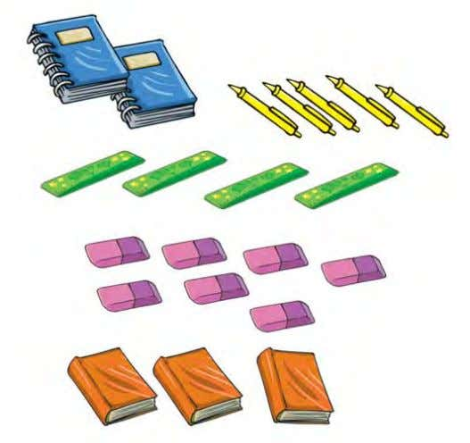 … purple rubbers 4 … green rulers 5 … orange books 3 Read and choose. 1