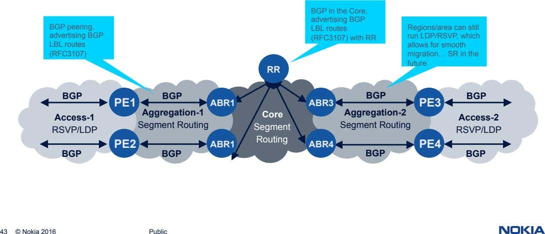 BGP peering, advertising BGP BGP in the Core, advertising BGP LBL routes (RFC3107) with RR