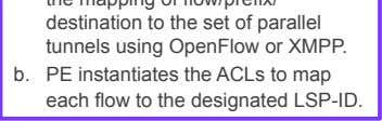 of parallel tunnels using OpenFlow or XMPP. b.   PE instantiates the ACLs to map each