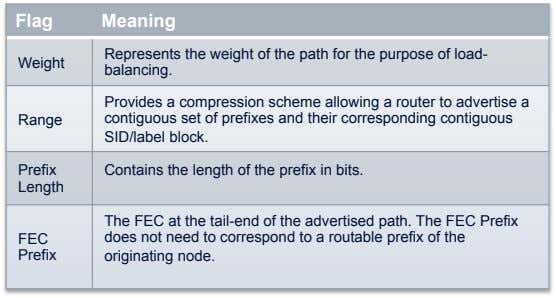 Flag Meaning Weight Represents the weight of the path for the purpose of load- balancing.