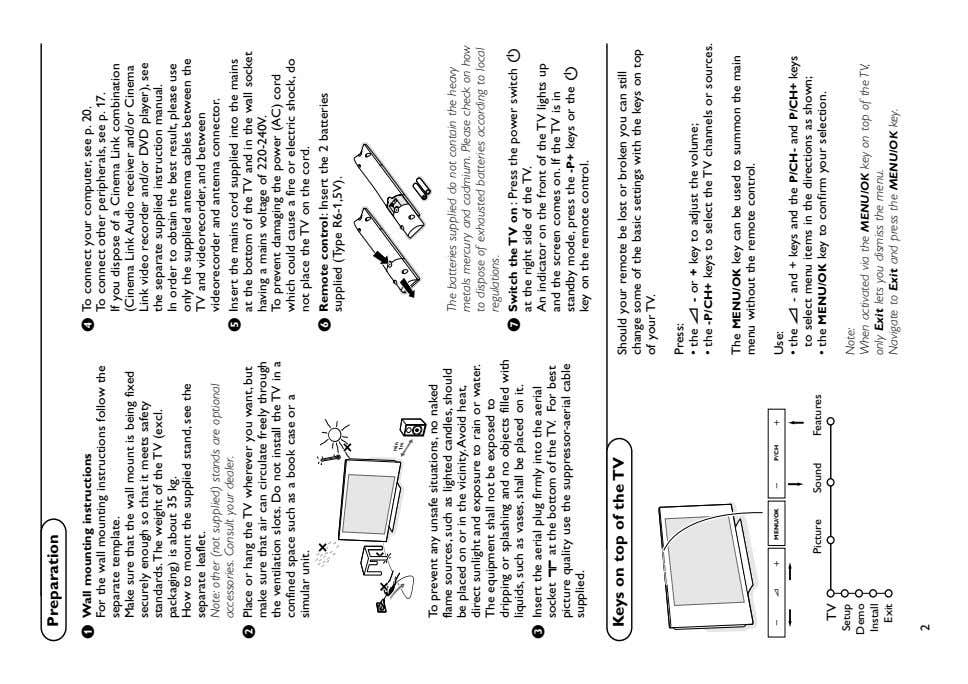 Preparation & Wall mounting instructions For the wall mounting instructions follow the separate Make sure