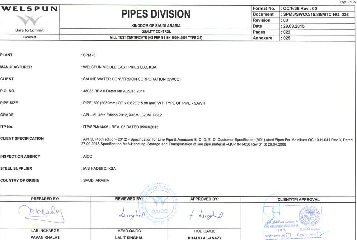 Page I of 22 wf.LsFffN Format No. PIPES DIVISION Document : QC/F/36 Rev.: 00 :