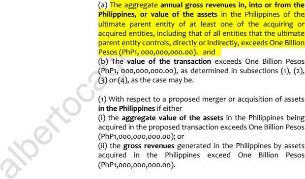 (a) The aggregate annual gross revenues in, into or from the Philippines, or value of
