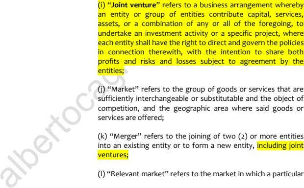 "(i) ""Joint venture"" refers to a business arrangement whereby an entity or group of entities"