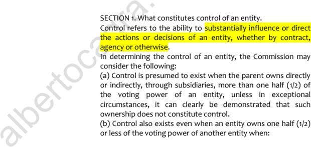SECTION 1. What constitutes control of an entity. Control refers to the ability to substantially