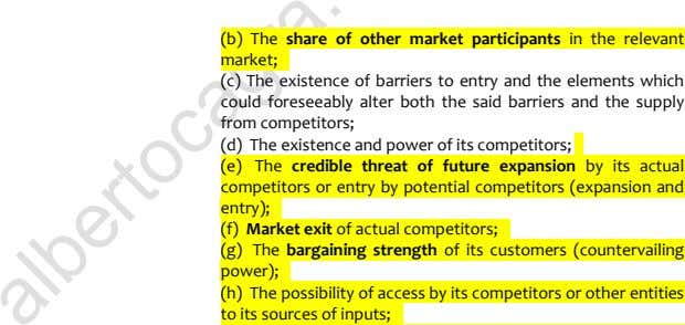 (b) The share of other market participants in the relevant market; 