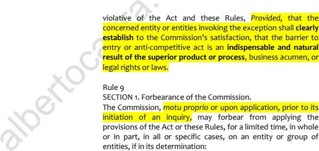 violative of the Act and these Rules, Provided, that the concerned entity or entities invoking