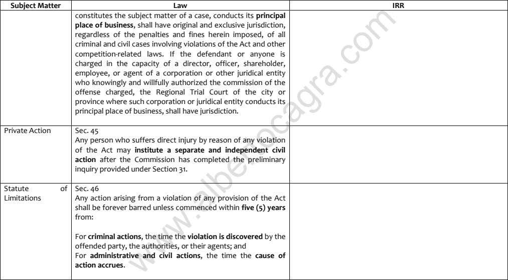 Subject Matter Law IRR constitutes the subject matter of a case, conducts its principal place