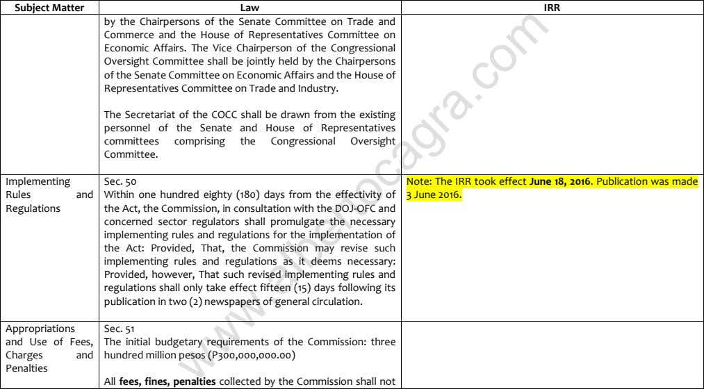 Subject Matter Law IRR by the Chairpersons of the Senate Committee on Trade and Commerce