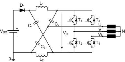 to be a practical solution [4,6]. A. Principle of Operation Fig. 3. Four-switch z-source three-phase inverter.