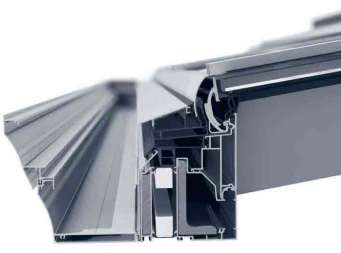 eaves profiles • Glazing thicknesses of 28, 32 and 36 mm Pultdach mit Abwalmung Hipped mono-pitch