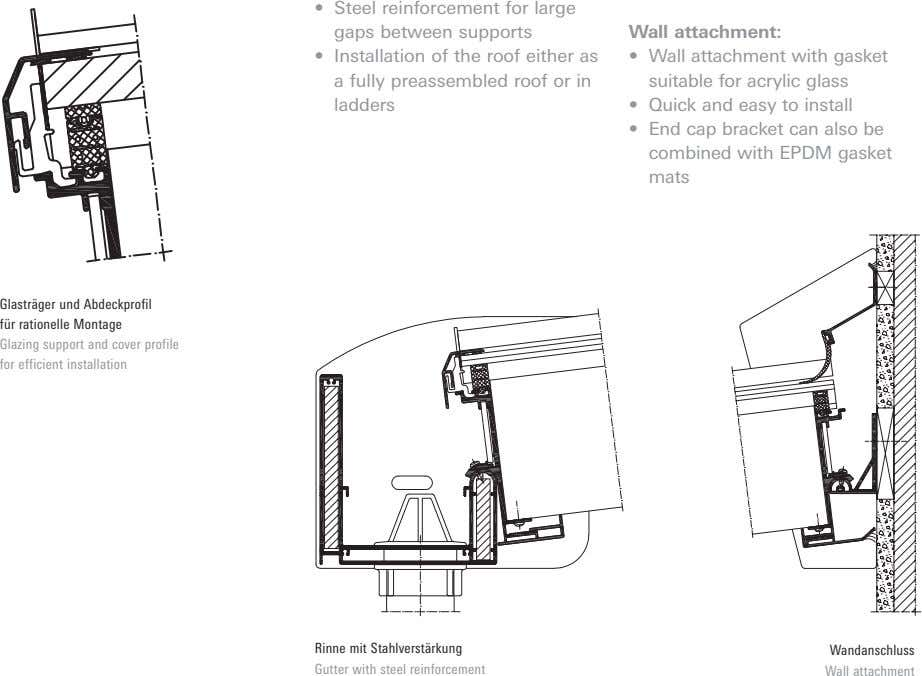 • Steel reinforcement for large gaps between supports Wall attachment: • Installation of the roof