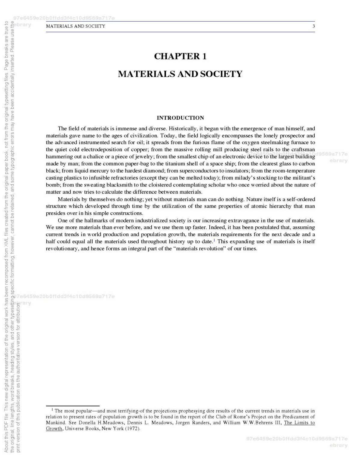 Materials Science and Engineering, Volume I : The History, Scope, and Nature of Materials Science