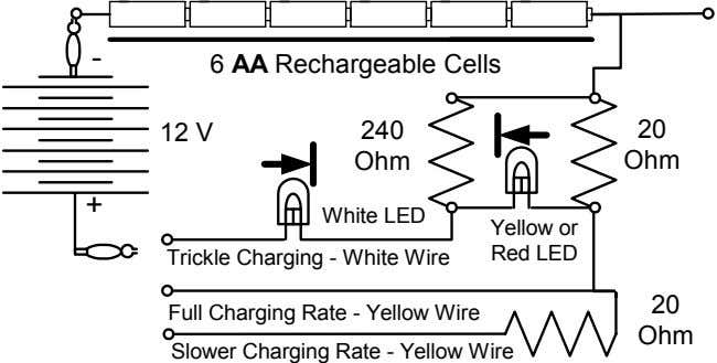 - 6 AA Rechargeable Cells 12 V 240 20 Ohm Ohm + White LED Yellow