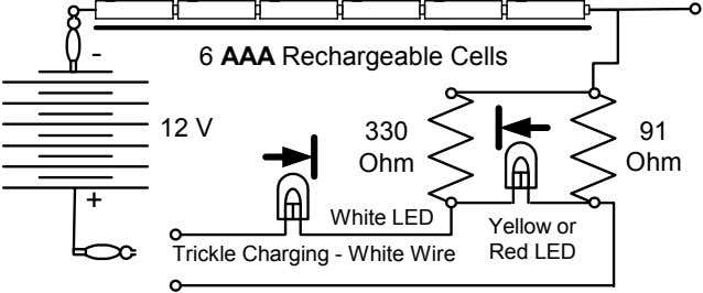 - 6 AAA Rechargeable Cells 12 V 330 91 Ohm Ohm + White LED Yellow
