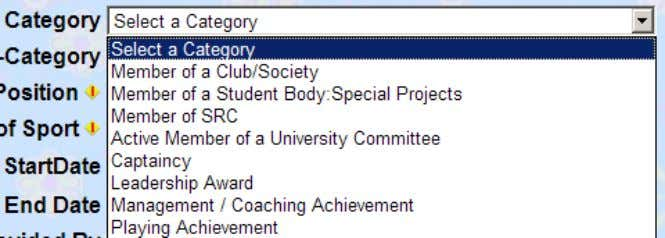 and the Academic year selected you then choose a category: Depending on what category you choose
