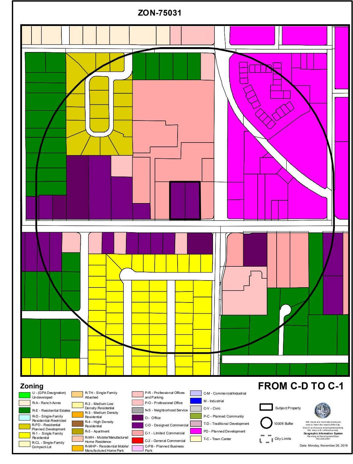 ZON-75031 Zoning FROM C-D TO C-1 U - (GPA Designation) Undeveloped R-TH - Single Family