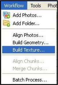 Build Texture . Pilih menu Build Geometry > Workflow. Gambar 3.49 Build Texture 2. Maka akan