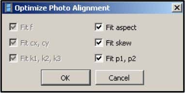 Optimize Photo Alignment centang parameter yang akan di optimasi, lalu klik ok Gambar 3.28 Optimize Photo