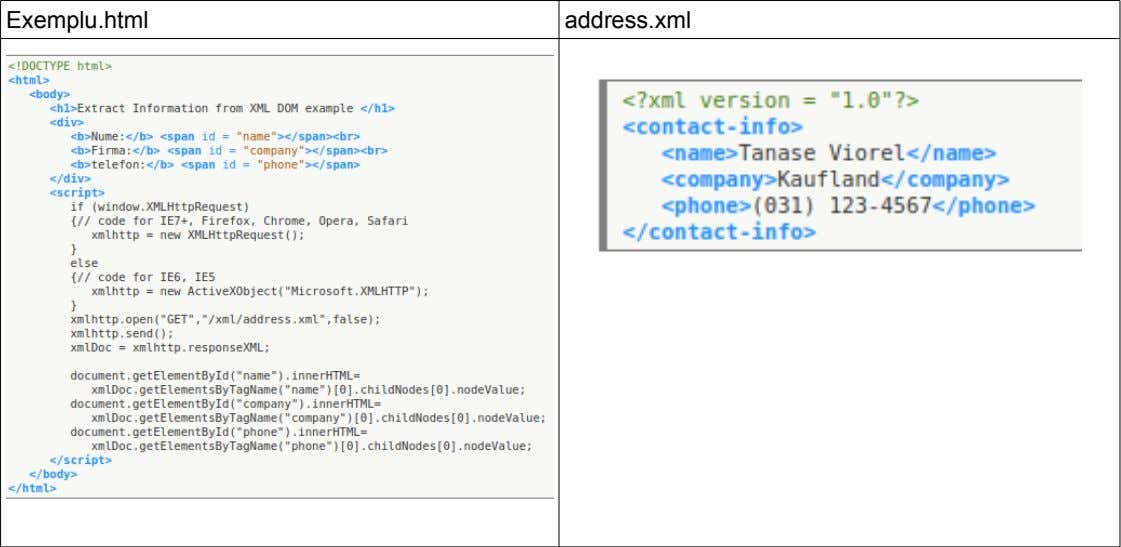 Exemplu.html address.xml