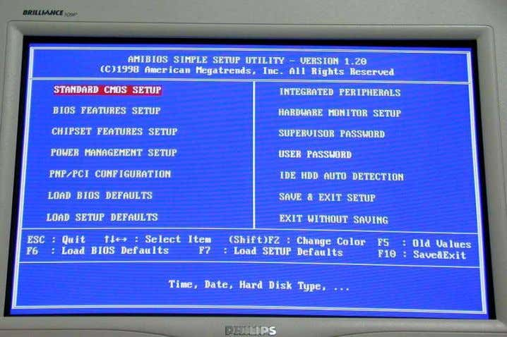 Basic Input/Output System (BIOS) software that determines what a computer can do without accessing programs