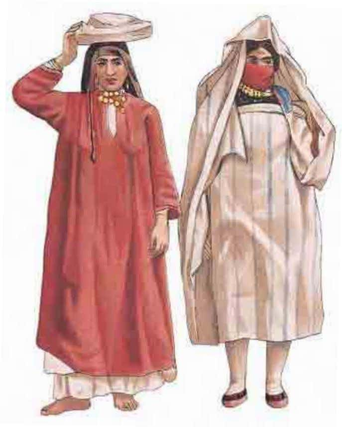 belie the poverty and harshness that dominate their lives. This Arab woman (left) wears a flat