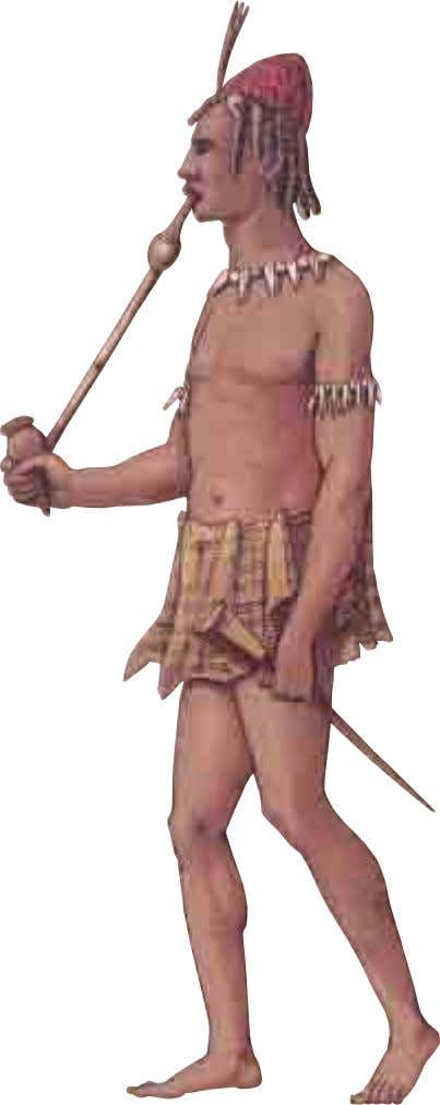 AFRICA A tribesman carries a javelin and a long-stemmed pipe. His loincloth is made of fig